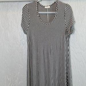 PINC striped midi dress dark gray and white  2X